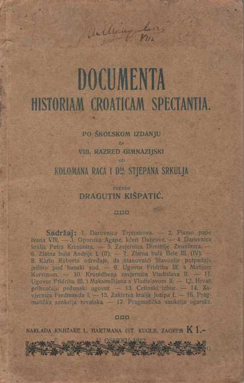 DOCUMENTA HISTORIAM CROATICAM SPECTANTIA